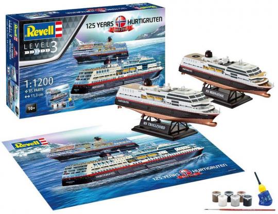 125 Jahre Hurtigruten. MS Trollfjord und MS Midnatsol. Modellbausatz.