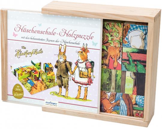 3D-Holzwürfel-Puzzle »Die Häschenschule«.