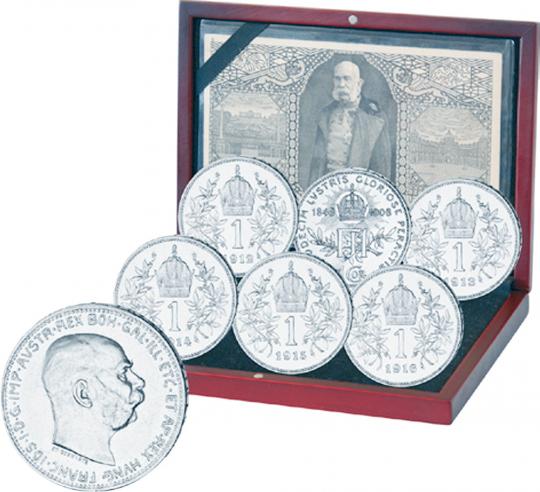 6er-Silbermünzen-Set mit den letzten 1-Kronen-Silbermünzen der Habsburger Dynastie!
