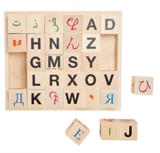 Alphabet Würfel aus Holz.