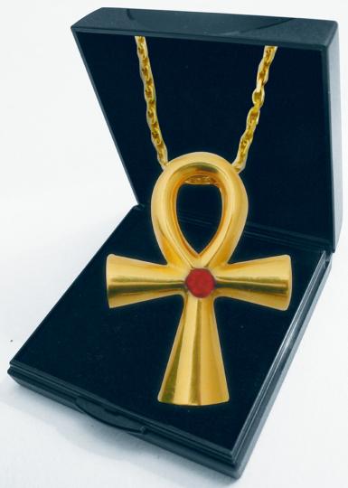 Anch Kreuz - Silber, vergoldet mit Edelsteinen