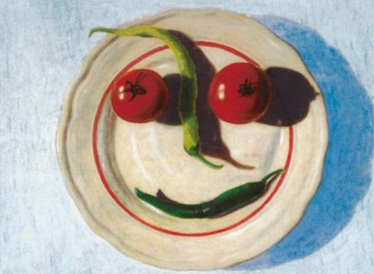 Andreas Scholz. Gemüseteller Hellblau.
