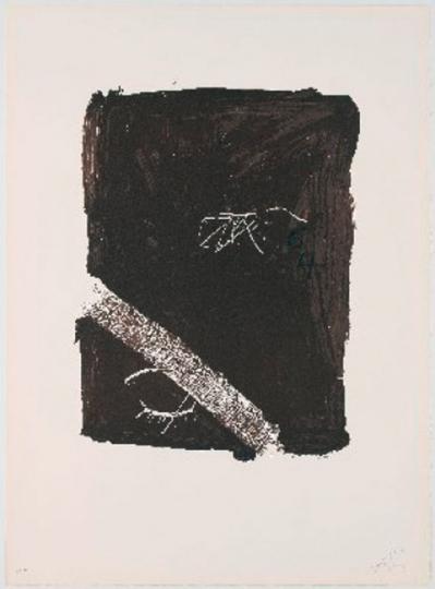 Antoni Tàpies. Farblithografie »Llambrec material V« (1975).