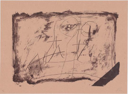 Antoni Tàpies. Farblithografie »Llambrec material XI«, Galfetti 549 (1975).