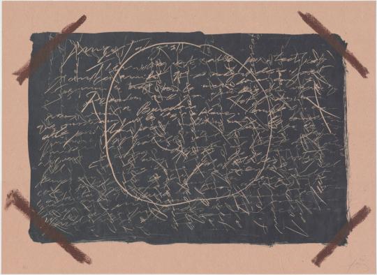 Antoni Tàpies. Farblithografie »Llambrec material XVI«, Galfetti 554 (1975).