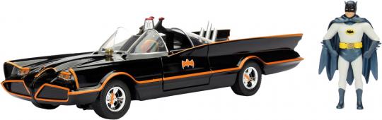 Batmobil mit Batman-Figurine. Version von 1966.