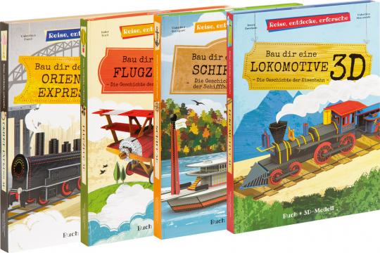 Bau dir ein Schiff, ein Flugzeug, einen Orient-Express und eine Lokomotive. 4er-Set.