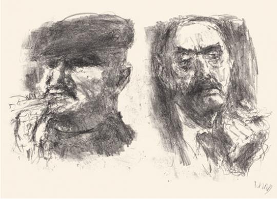 Bernhard Heisig. Bertolt Brecht und Thomas Mann. Originallithographie