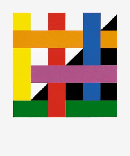 Bertold Mathes. Einzelblatt aus Portfolio »Ein Format 12 Konzepte«, 1990.
