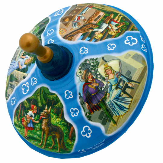 Blechkreisel mit Märchenmotiven.