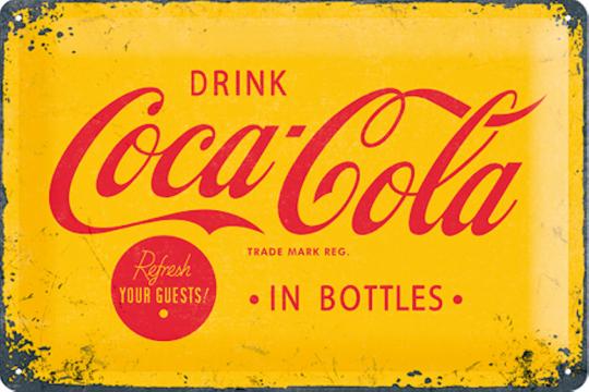 Blechschild »Drink Coca-Cola«, gelb/rot.