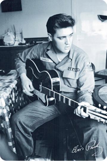 Blechschild Elvis Presley mit Gitarre
