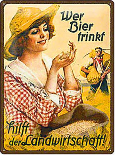 Blechschild Wer Bier trinkt, hilft der Landwirtschaft (Frau)