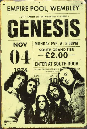 Blechschild »Genesis Concert Ticket«.