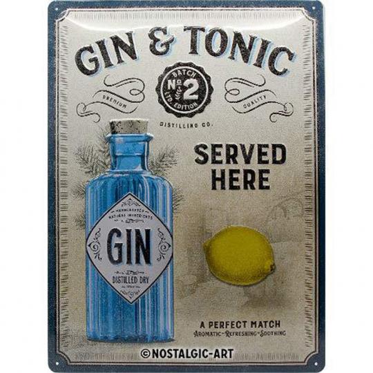 Blechschild »Gin & Tonic«.