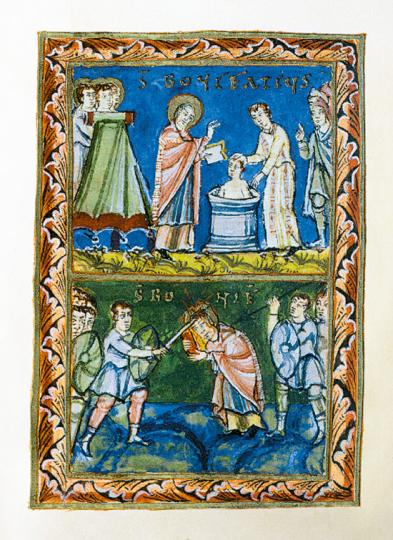Bonifatiusdarstellungen in der Mittelalterlichen Buchmalerei. Mappe mit 2 Faksimiles.