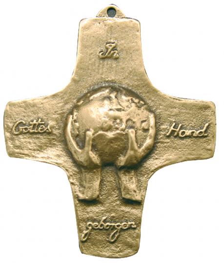 Bronze Kreuz - 'Kommt, wir entdecken einen Schatz'