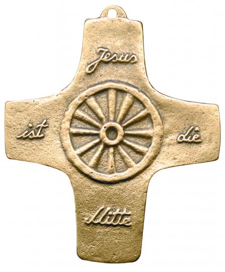 Bronze Wandkreuz 'Jesus ist die Mitte'