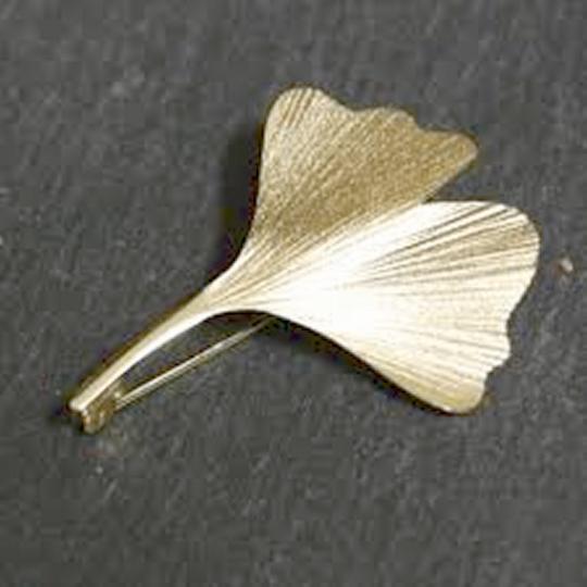 Brosche Ginkgo-Blatt Gold