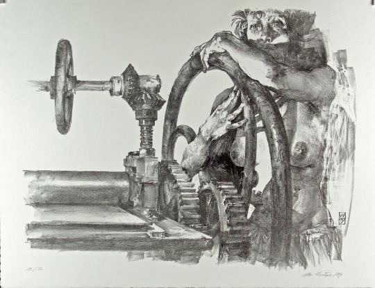 Christoph Wetzel. An der Druckerpresse. Lithografie.