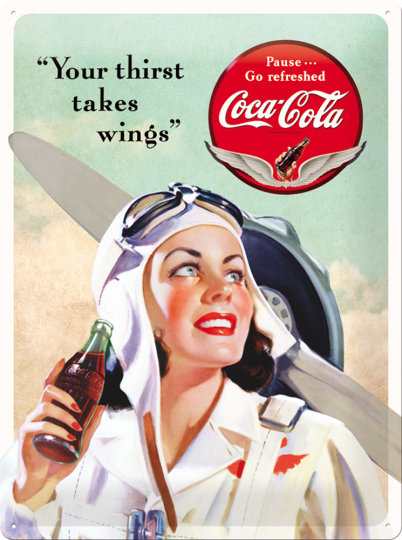 Blechschild »Coca-Cola Takes Wings«.