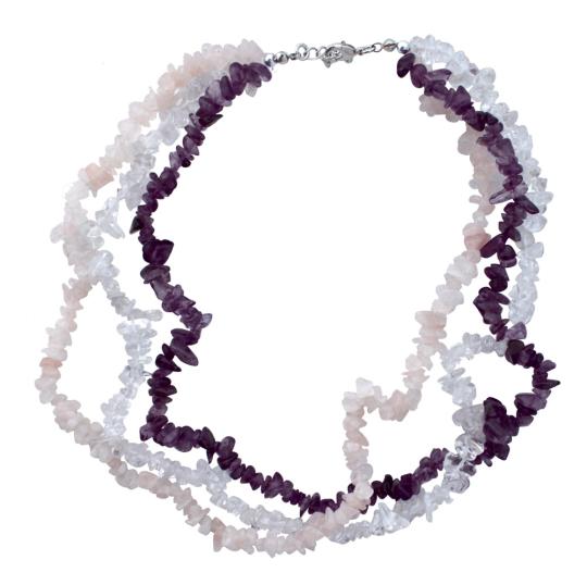 Collier Barockschmuck: Rosenquarz, Amethyst, Bergkristall