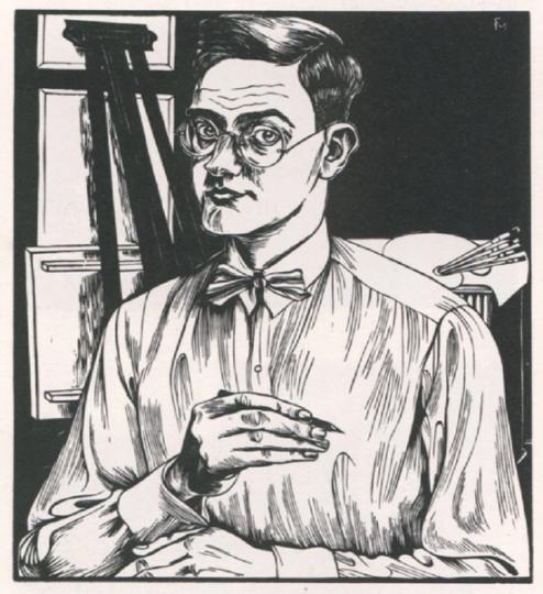 Conrad Felixmüller. Selbstbildnis mit Zeichenstift.