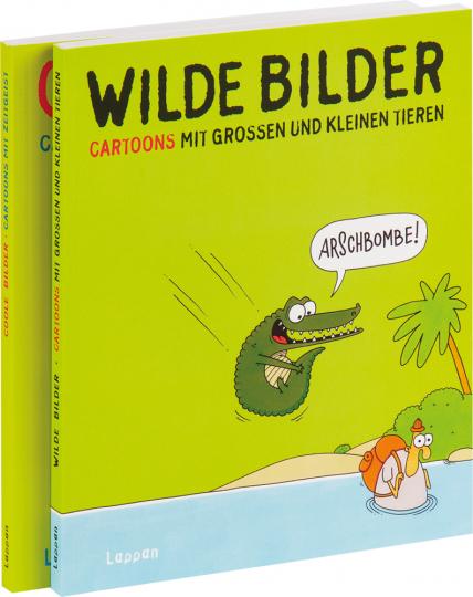 Coole Bilder. Cartoons mit Zeitgeist & Wilde Bilder. Cartoons mit großen und kleinen Tieren. 2 Cartoonbände im Set.