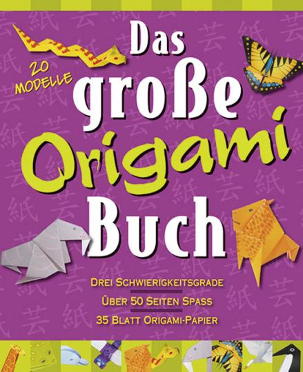 Das große Origami Buch mit 20 Blatt Origami-Papier.