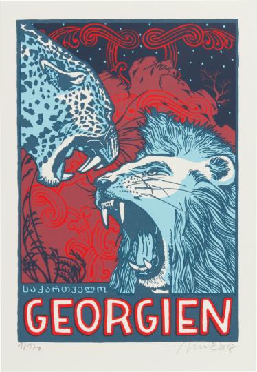 Der Held im Pardelfell. Eine georgische Sage von Schota Rustaweli. Vorzugsausgabe mit Originalgrafik »Löwe und Leopard«.