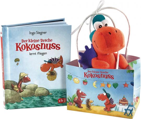 Der kleine Drache Kokosnuss. Geschenktüte. Ein Buch und ein Filz-Drache.