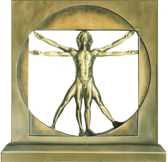 Der vitruvianische Mensch – Statue, bronziert