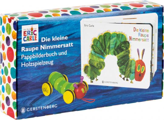 Die kleine Raupe Nimmersatt - Geschenkset. Pappbilderbuch mit Holzraupe.