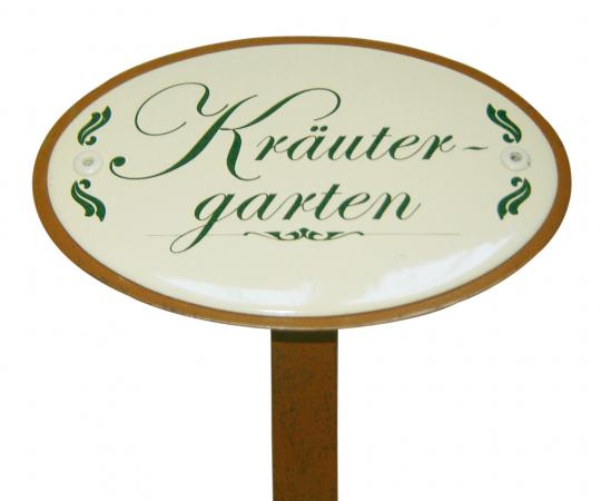 Emaille-Schild mit Spieß: Kräutergarten