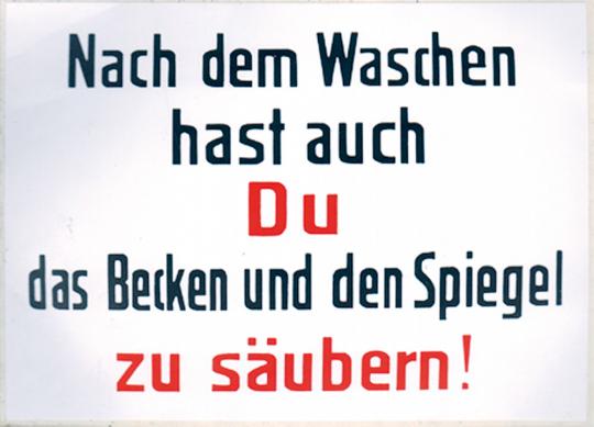 Emaille-Schild Nach dem Waschen ...