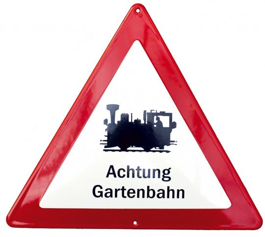 Emailleschild 'Achtung Gartenbahn!'