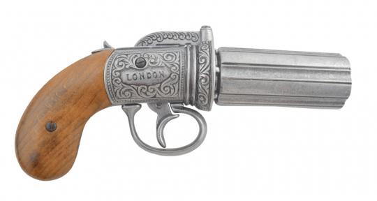 Engl. Pistole , Pepperbox silber