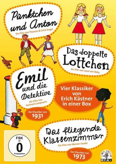 Erich Kästner Box. Pünktchen und Anton, Das doppelte Lottchen, Emil und die Detektive & Das fliegende Klassenzimmer. 4 DVDs.
