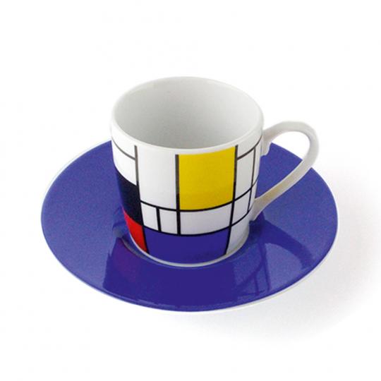 Espressotasse »Piet Mondrian«, blau.