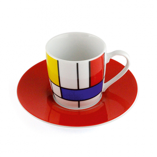 Espressotasse »Piet Mondrian«, rot.