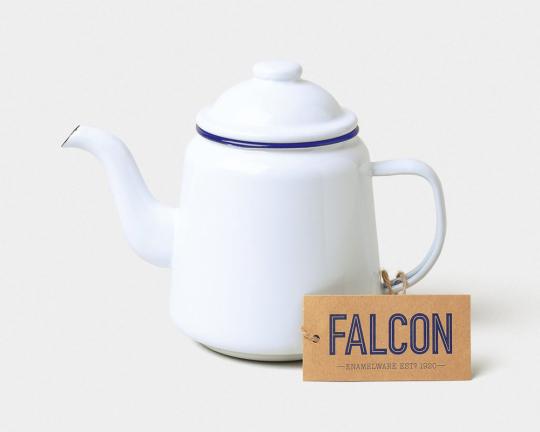 Falcon Teekanne, weiß/blau.