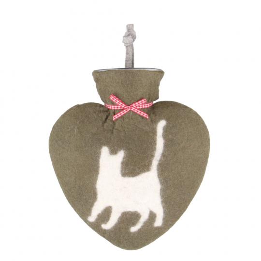 Filz Wärmflasche mit Katze, laufend.