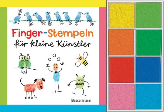 Fingerstempeln für kleine Künstler. Buch und 8 Stempelkissen.