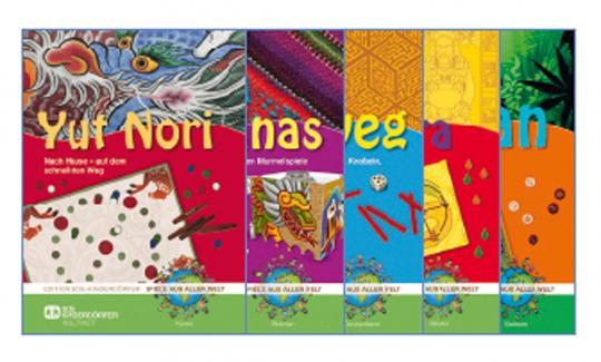 Fünf beliebte Kinderspiele aus aller Welt im Set.