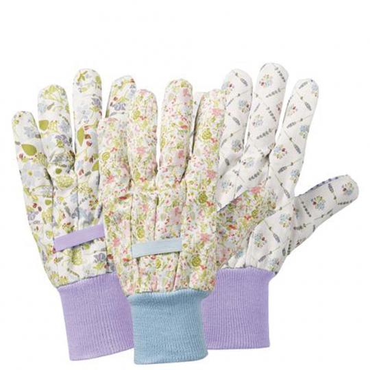 Gartenhandschuhe Blumen 3-er Pack. Größe M.