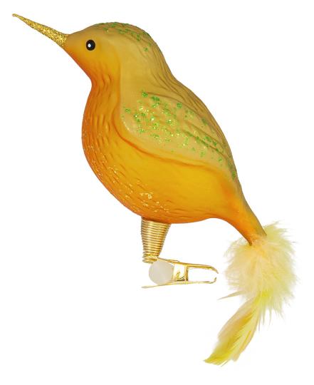 Gelber Vogel mit Federn und Clip.