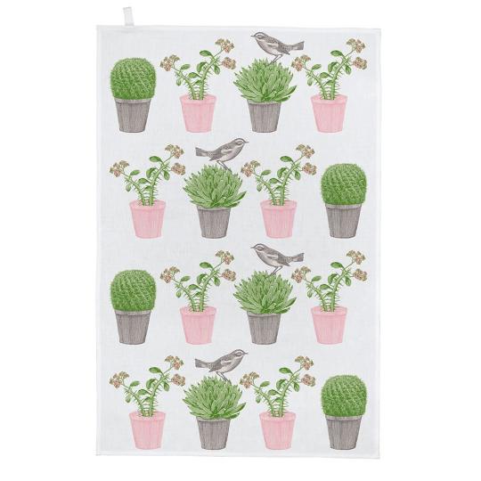 Geschirrhandtuch »Kaktus und Vogel«.