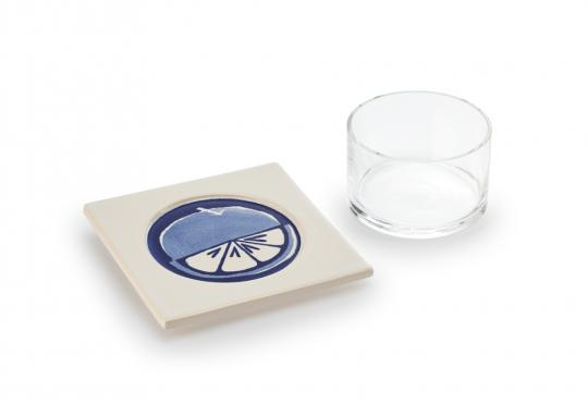 Glasschale mit Keramikuntersetzer »Orange«.