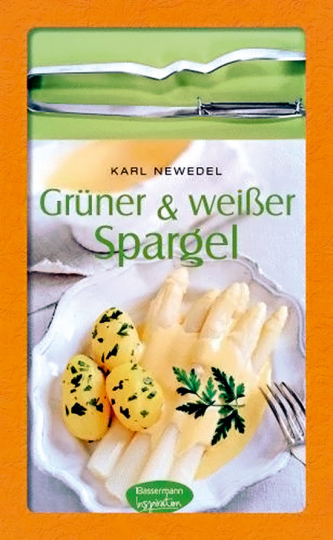 Grüner und weißer Spargel. Kochbuch mit Spargelschäler.