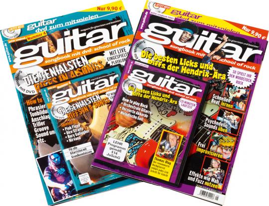 Guitar School of Rock Set. Die genialsten Riffs und besten Licks klassischer Songs und der Hendrix-Ära. Songbooks mit DVDs.
